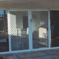 Security Screen Door with Diamond Grille